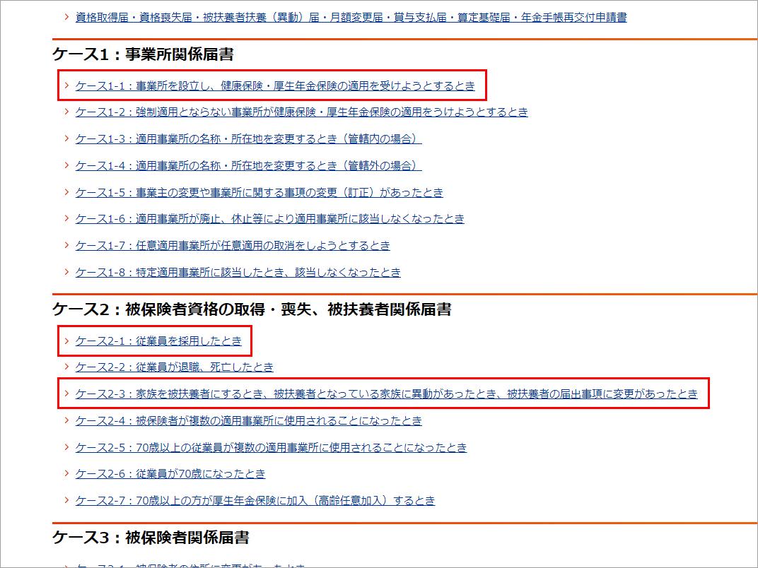 日本年金機構 Webサイト 健康保険・厚生年金保険 適用関係届書・申請書一覧ページ