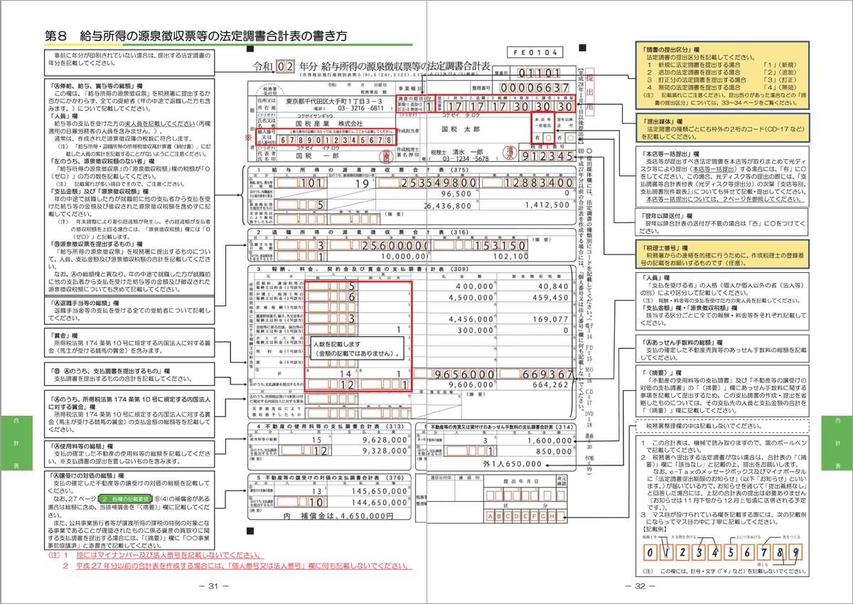 第8 給与所得の源泉徴収票等の法定調書合計表の書き方 P31-p32
