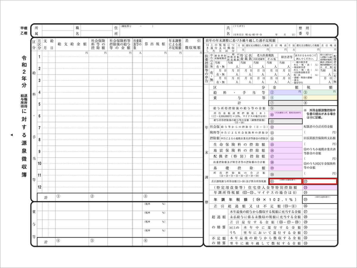 【源泉徴収簿】課税給与所得金額/算出所得税額