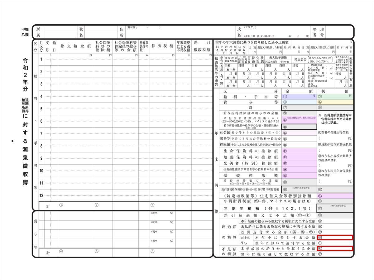 【源泉徴収簿】超過額の清算/不足額の清算